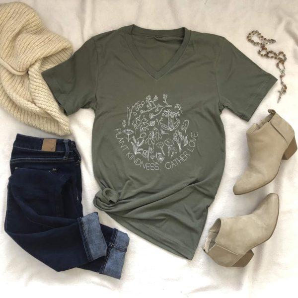 moss green v-neck t-shirt