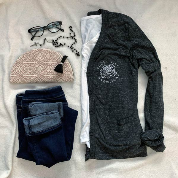 grey button-front cardigan