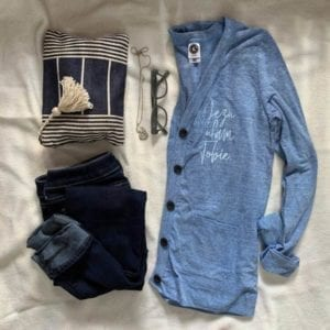 Women's Blue Cardigan with Pockets