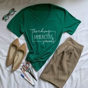 kelly green v-neck t-shirt