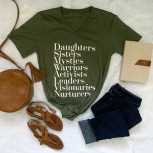mossy green v-neck t-shirt