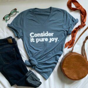 steel blue v-neck t-shirt