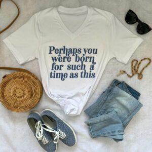 white v-neck retro t-shirt